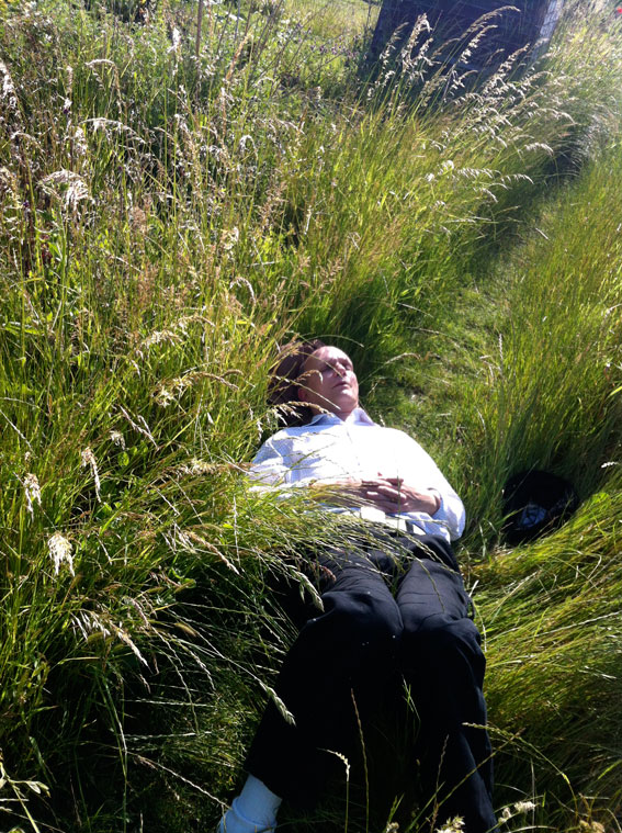 Paul asleep at allotment