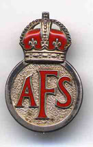Auxilliary Fire Service silver and enamel badge