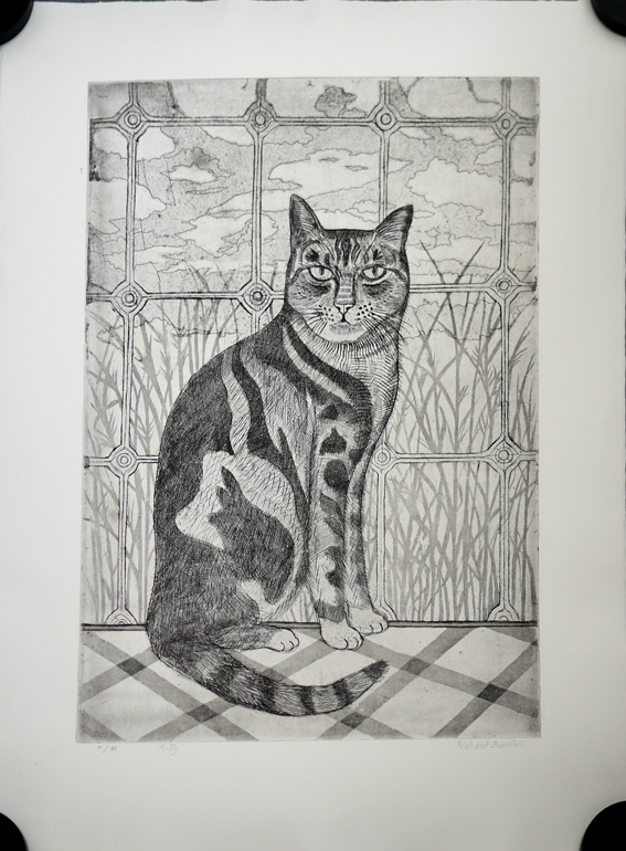 Richard Bawden etching of cat