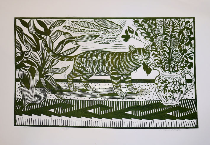 Richard Bawden limited edition linocut cat