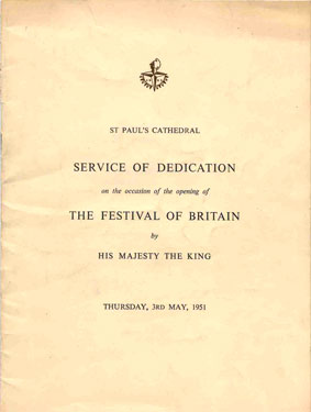 1951 Festival of Britain dedication