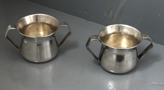 Silver plate hotelware sugar basins