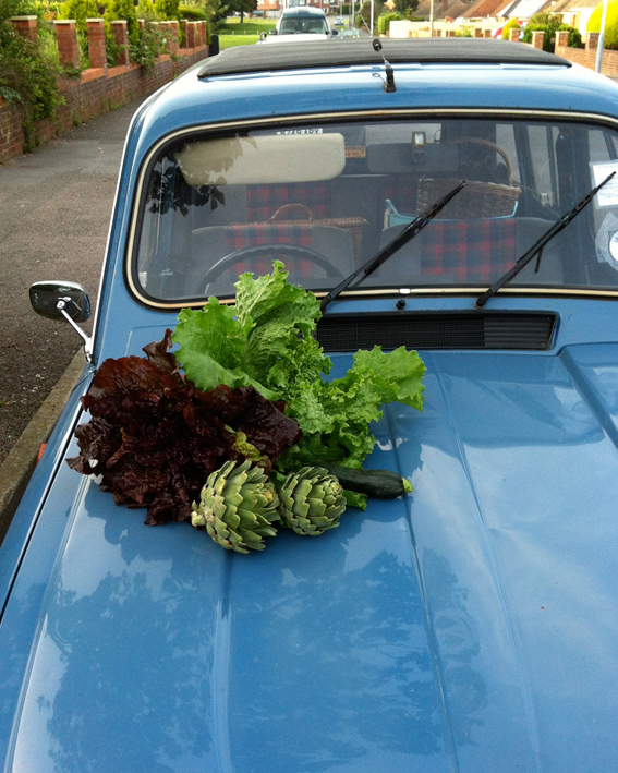 Renault 4 and lettuce