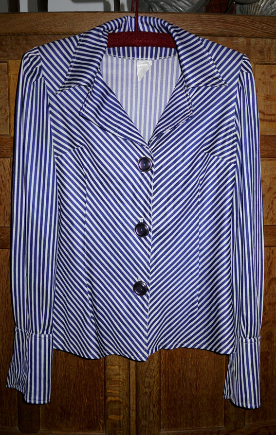 Blue and white striped 70s blouse