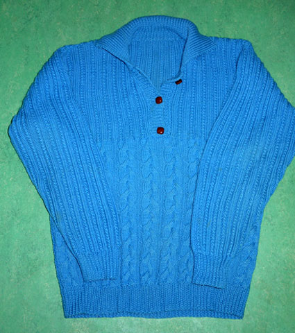 Turquoise handknitted jumper with leather buttons